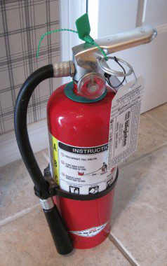 """We have """"we're not joking around"""" sized fire extinguishers readily available throughout the house."""
