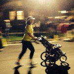 Holly using her Baby Trend Expedition at a night race