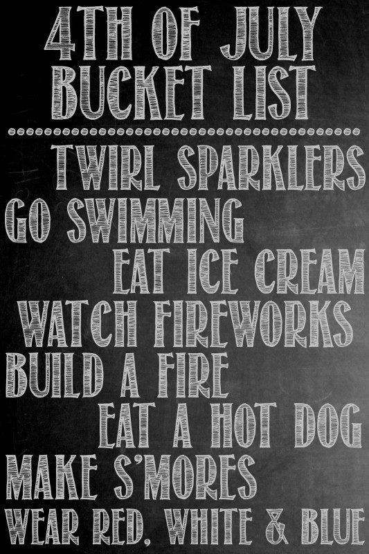 4th of July Bucket List