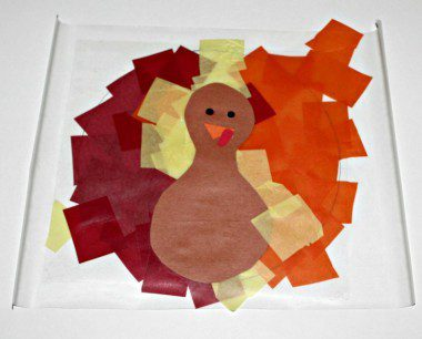 Contact Paper and Tissue Paper Turkey Craft