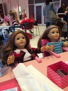 Saige and McKenna enjoying lunch.