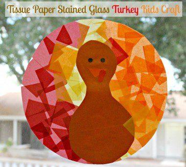 Tissue Paper Stained Glass Turkey Kids Craft