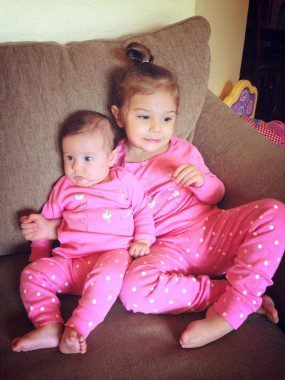 My daughters in matching pajamas