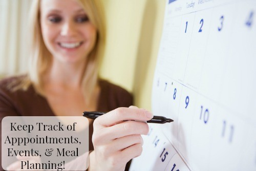 Keep Track of Apppointments, Events, & Meal Planning! Organizational Tips