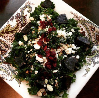 Massaged kale salad with purple potatoes, feta, sliced almonds and dried cranberries