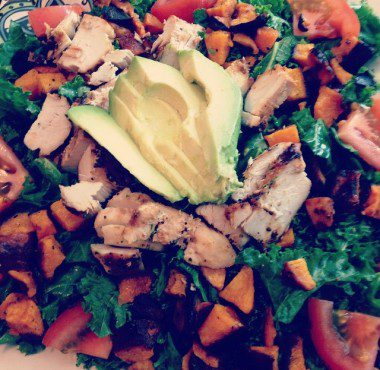 Massaged kale salad with roasted butternut squash, grilled chicken, avocado and tomato