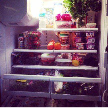 "My fridge: Kale ""bouquet"" on top right"