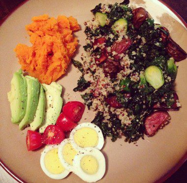 Sautéed kale and quinoa with roasted brussel sprouts and purple potatoes