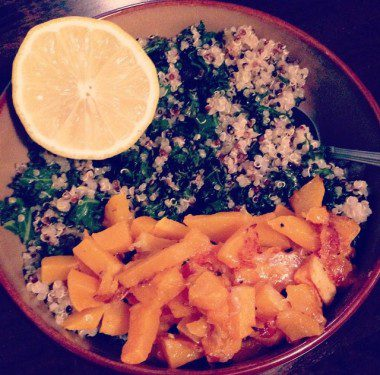 Sautéed Kale with quinoa and roasted butternut squash