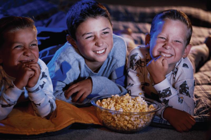 4 boys watching movie