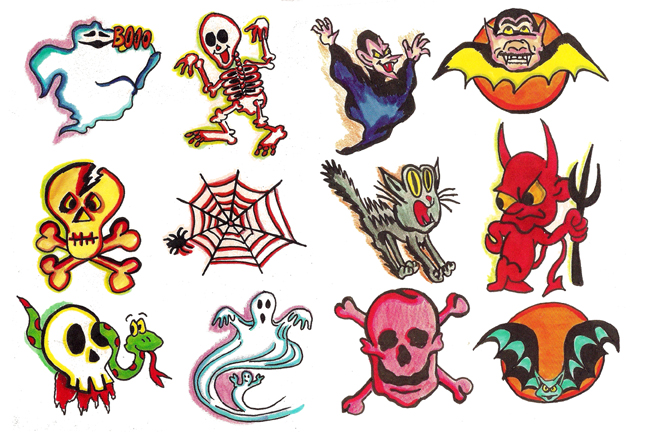 color-ink-halloween-tattoo-designs