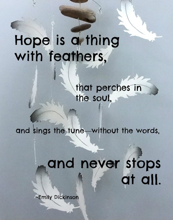 essays on hope is the thing with feathers Free essay: hope by emily dickinson as a literary woman of the nineteenth century, emily dickinson wrote,  hope is a things with feathers- that perches in.