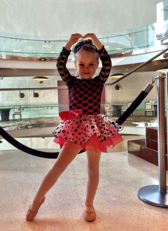 Posing before her first dance recital practice
