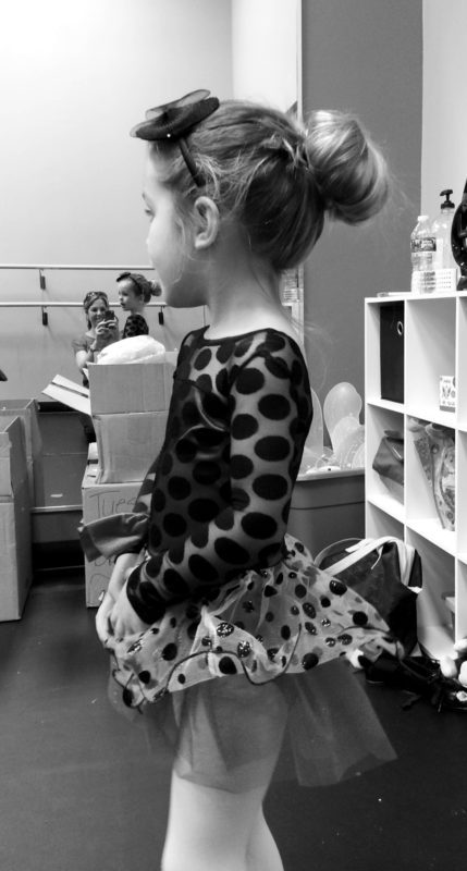 Trying on her ladybug costume for the first time