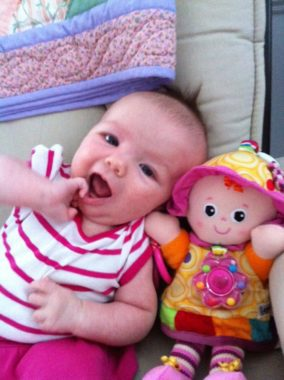 Our Emily and her favorite doll as a baby, Emily