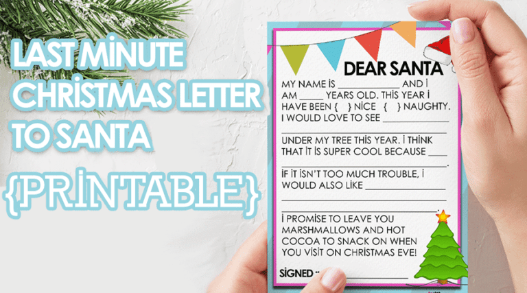 Last Minute Christmas Letter to Santa {PRINTABLE}