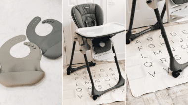 close up of grey bucket bibs chicco highchair and gathre alphabet mat
